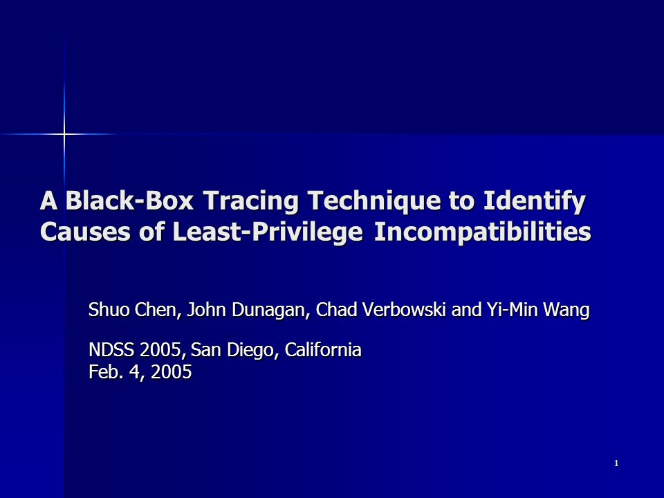 1 A Black-Box Tracing Technique to Identify Causes of Least-Privilege Incompatibilities Shuo Chen, John Dunagan, Chad Verbowski and Yi-Min Wang NDSS 2005, San Diego, California Feb.