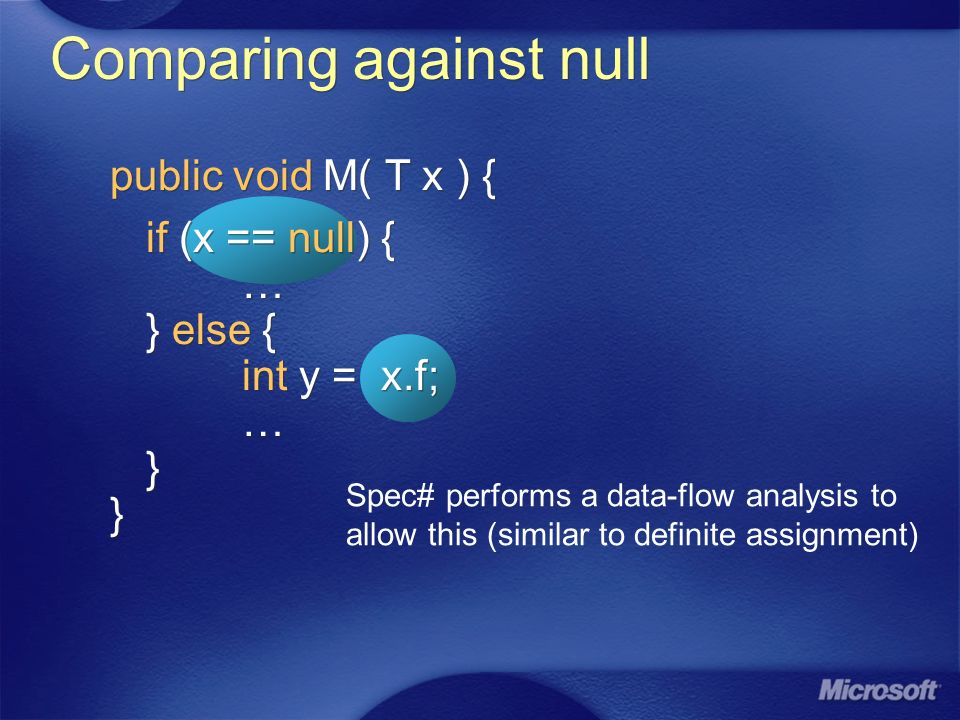 Comparing against null public void M( T x ) { if (x == null) { … } else { int y = x.f; … } } public void M( T x ) { if (x == null) { … } else { int y = x.f; … } } Spec# performs a data-flow analysis to allow this (similar to definite assignment)