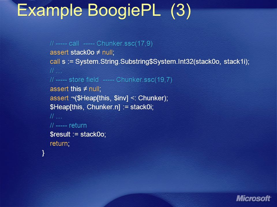 Example BoogiePL (3) // call Chunker.ssc(17,9) assert stack0o null; call s := System.String.Substring$System.Int32(stack0o, stack1i); // … // store field Chunker.ssc(19,7) assert this null; assert ¬($Heap[this, $inv] <: Chunker); $Heap[this, Chunker.n] := stack0i; // … // return $result := stack0o; return; } // call Chunker.ssc(17,9) assert stack0o null; call s := System.String.Substring$System.Int32(stack0o, stack1i); // … // store field Chunker.ssc(19,7) assert this null; assert ¬($Heap[this, $inv] <: Chunker); $Heap[this, Chunker.n] := stack0i; // … // return $result := stack0o; return; }