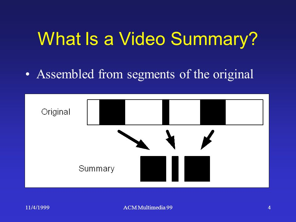 11/4/1999ACM Multimedia 994 What Is a Video Summary Assembled from segments of the original