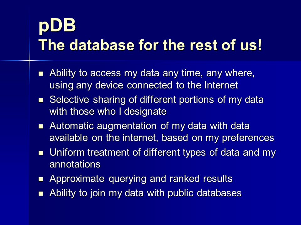 pDB The database for the rest of us.