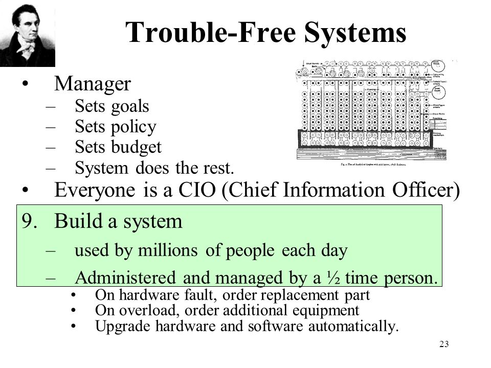 23 Trouble-Free Systems Manager –Sets goals –Sets policy –Sets budget –System does the rest.