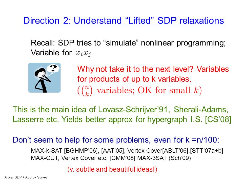 Direction 1: How to soup up the relaxation Arora: SDP + Approx Survey Other forms of convex relaxations instead of SDP.