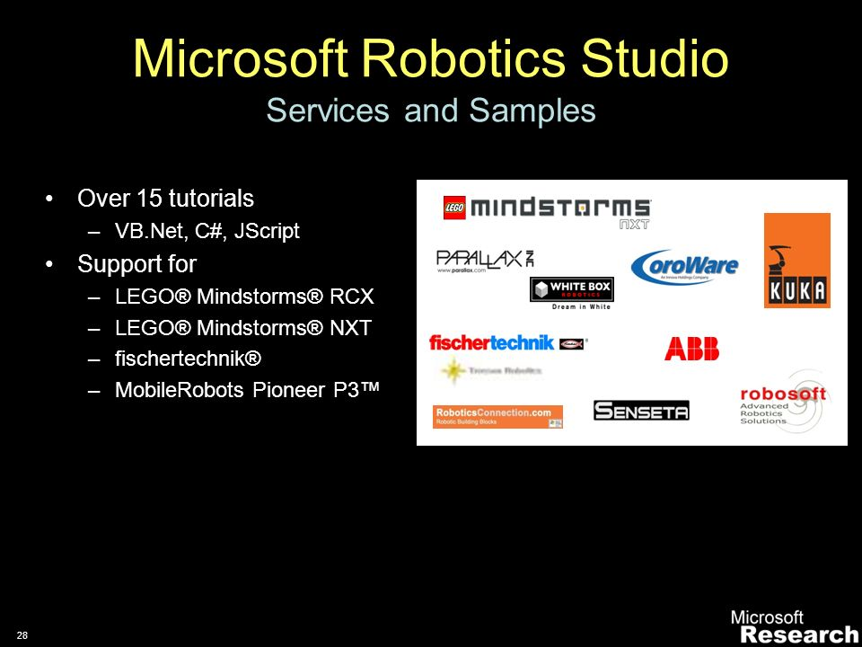 27 Microsoft Robotics Studio Extensible to a wide variety of hardware