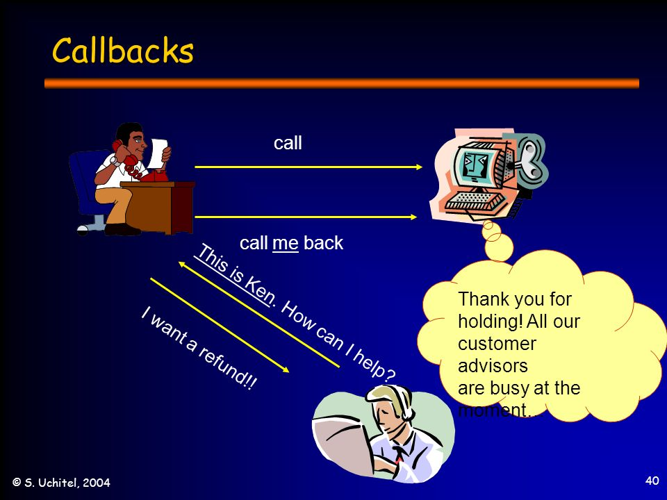 40 © S. Uchitel, 2004 Callbacks call call me back Thank you for holding.