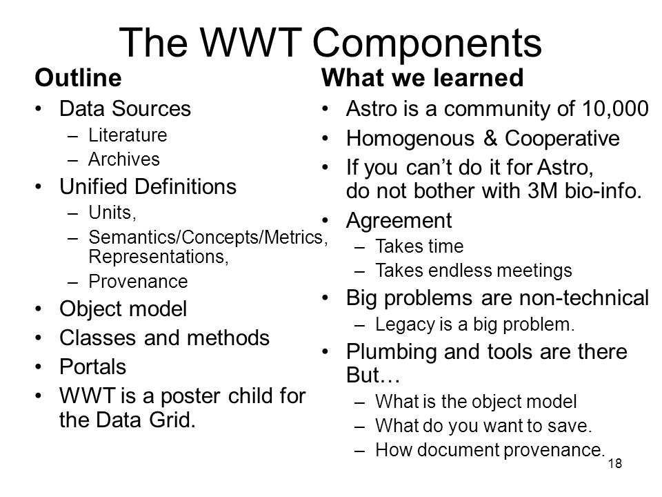 18 The WWT Components Outline Data Sources –Literature –Archives Unified Definitions –Units, –Semantics/Concepts/Metrics, Representations, –Provenance Object model Classes and methods Portals WWT is a poster child for the Data Grid.