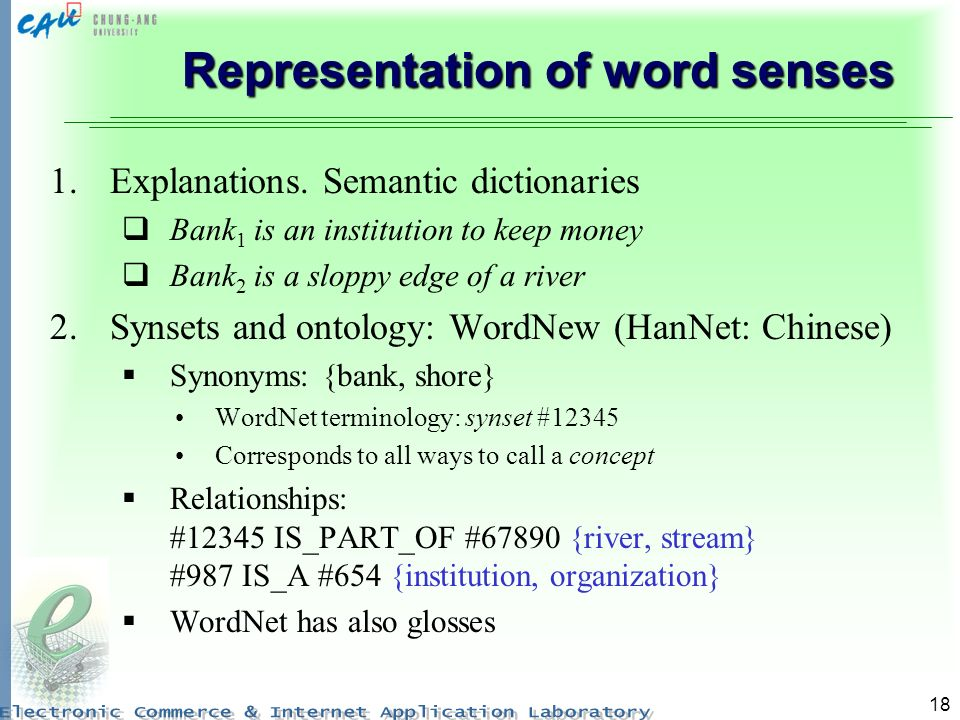 18 Representation of word senses 1.Explanations.
