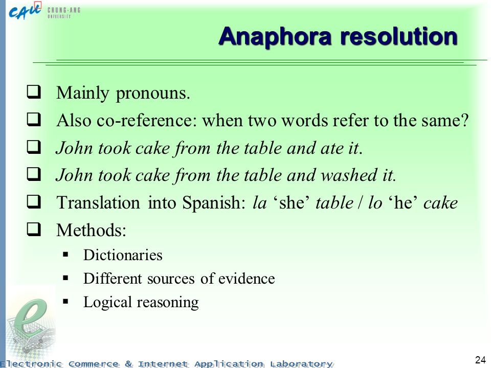 24 Anaphora resolution Mainly pronouns. Also co-reference: when two words refer to the same.