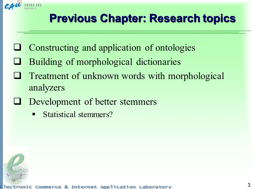 3 Previous Chapter: Research topics Constructing and application of ontologies Building of morphological dictionaries Treatment of unknown words with morphological analyzers Development of better stemmers Statistical stemmers