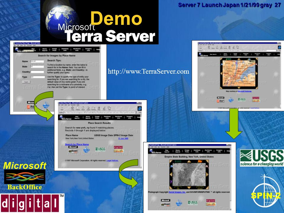 Server 7 Launch Japan 1/21/99 gray 26 Server 7 Launch Japan 1/21/99 gray 26 VLDB Improvements Terabyte Support File Groups for easier management File Groups for easier management Exabyte Database Size (theoretical max) Exabyte Database Size (theoretical max) Tested to 2.5 Terabytes Tested to 2.5 Terabytes 64-bit support (up to 32 GB with NT5) 64-bit support (up to 32 GB with NT5)
