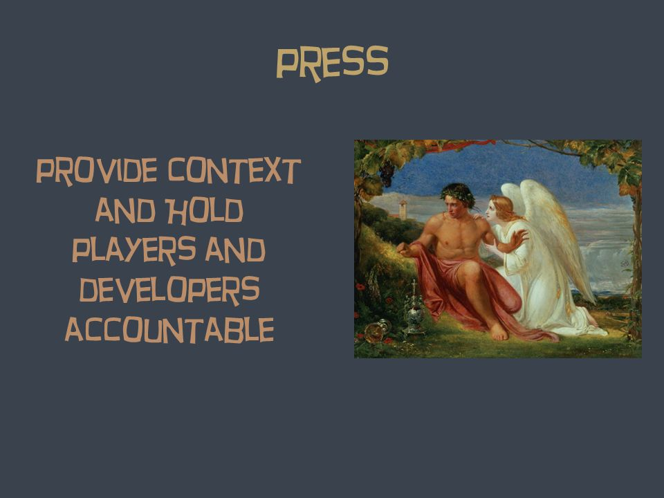 press provide Context and Hold players and developers accountable