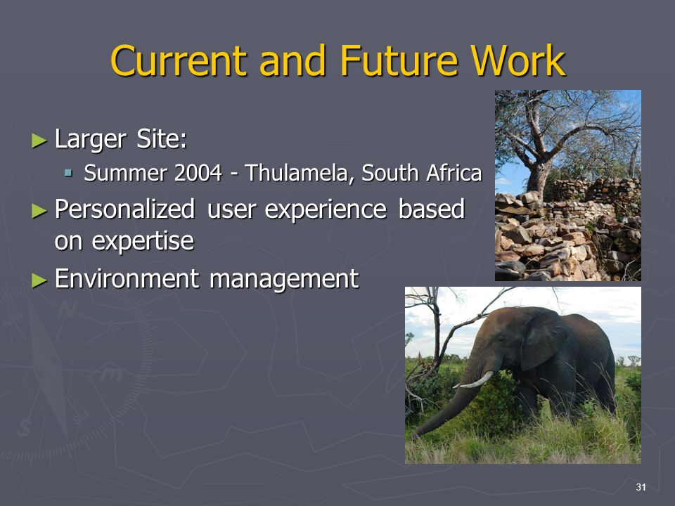 31 Current and Future Work Larger Site: Larger Site: Summer 2004 - Thulamela, South Africa Summer 2004 - Thulamela, South Africa Personalized user experience based on expertise Personalized user experience based on expertise Environment management Environment management