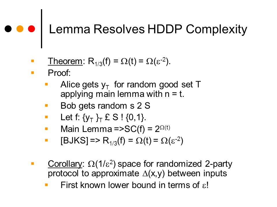 Lemma Resolves HDDP Complexity Theorem: R 1/3 (f) = (t) = ( -2 ).