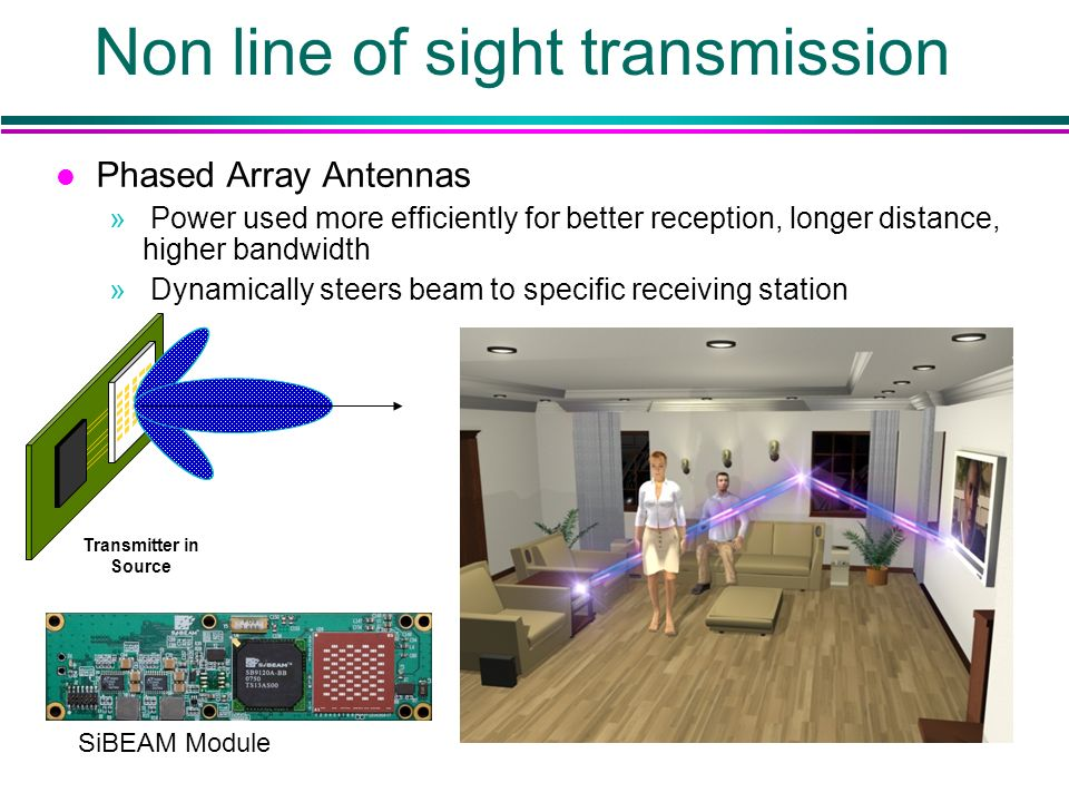 Non line of sight transmission Transmitter in Source l Phased Array Antennas » Power used more efficiently for better reception, longer distance, higher bandwidth » Dynamically steers beam to specific receiving station SiBEAM Module