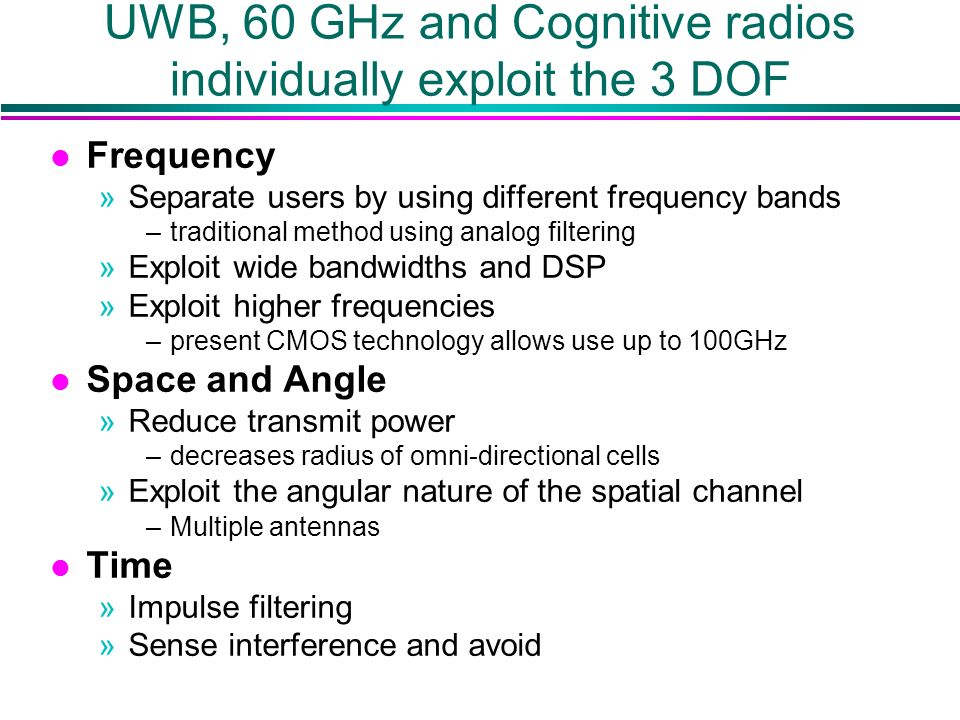 UWB, 60 GHz and Cognitive radios individually exploit the 3 DOF l Frequency »Separate users by using different frequency bands –traditional method using analog filtering »Exploit wide bandwidths and DSP »Exploit higher frequencies –present CMOS technology allows use up to 100GHz l Space and Angle »Reduce transmit power –decreases radius of omni-directional cells »Exploit the angular nature of the spatial channel –Multiple antennas l Time »Impulse filtering »Sense interference and avoid