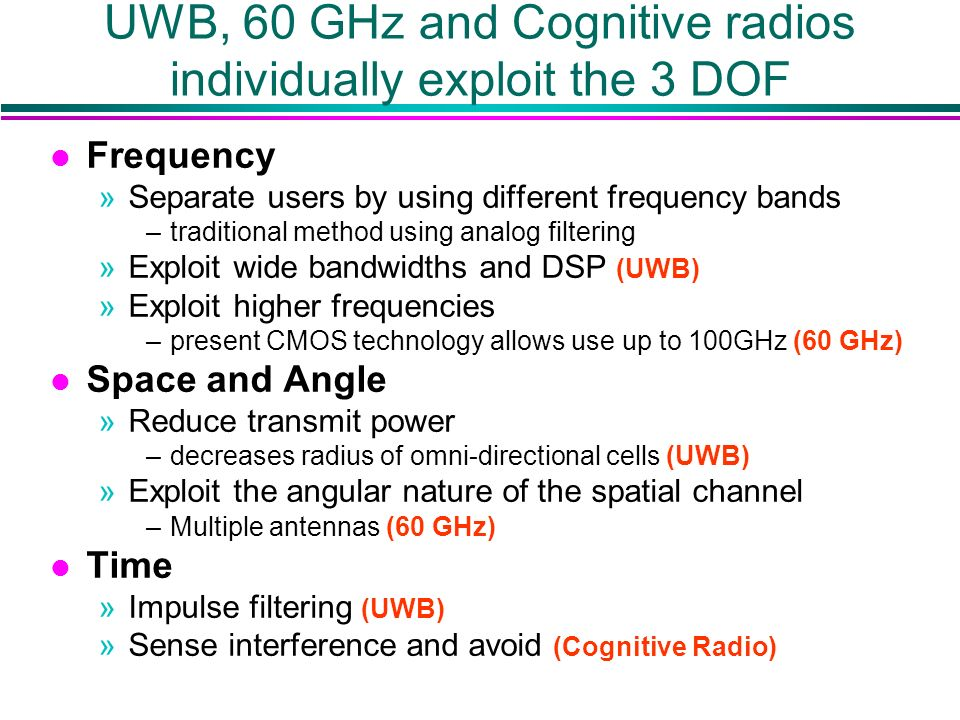 UWB, 60 GHz and Cognitive radios individually exploit the 3 DOF l Frequency »Separate users by using different frequency bands –traditional method using analog filtering »Exploit wide bandwidths and DSP (UWB) »Exploit higher frequencies –present CMOS technology allows use up to 100GHz (60 GHz) l Space and Angle »Reduce transmit power –decreases radius of omni-directional cells (UWB) »Exploit the angular nature of the spatial channel –Multiple antennas (60 GHz) l Time »Impulse filtering (UWB) »Sense interference and avoid (Cognitive Radio)