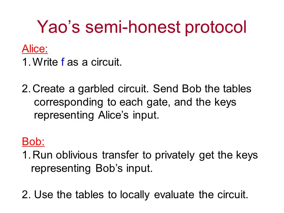 Yaos semi-honest protocol Alice: 1.Write f as a circuit.