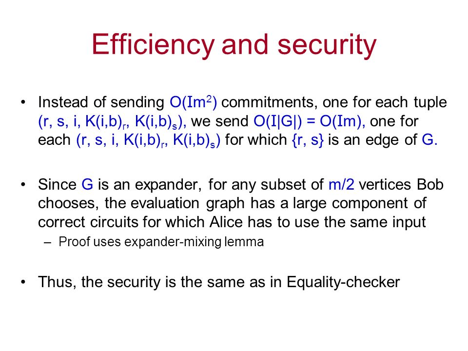 Efficiency and security Instead of sending O( I m 2 ) commitments, one for each tuple (r, s, i, K(i,b) r, K(i,b) s ), we send O( I |G|) = O( I m), one for each (r, s, i, K(i,b) r, K(i,b) s ) for which {r, s} is an edge of G.