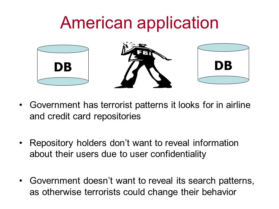 American application Government has terrorist patterns it looks for in airline and credit card repositories Repository holders dont want to reveal information about their users due to user confidentiality Government doesnt want to reveal its search patterns, as otherwise terrorists could change their behavior DB