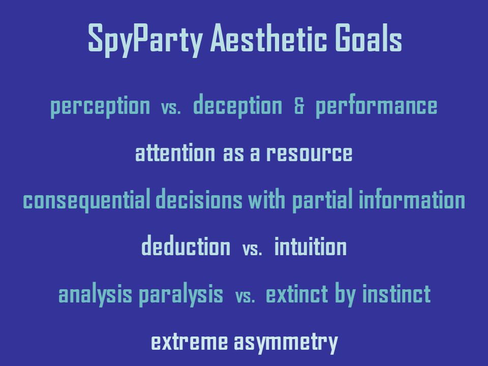 SpyParty Aesthetic Goals perception vs.