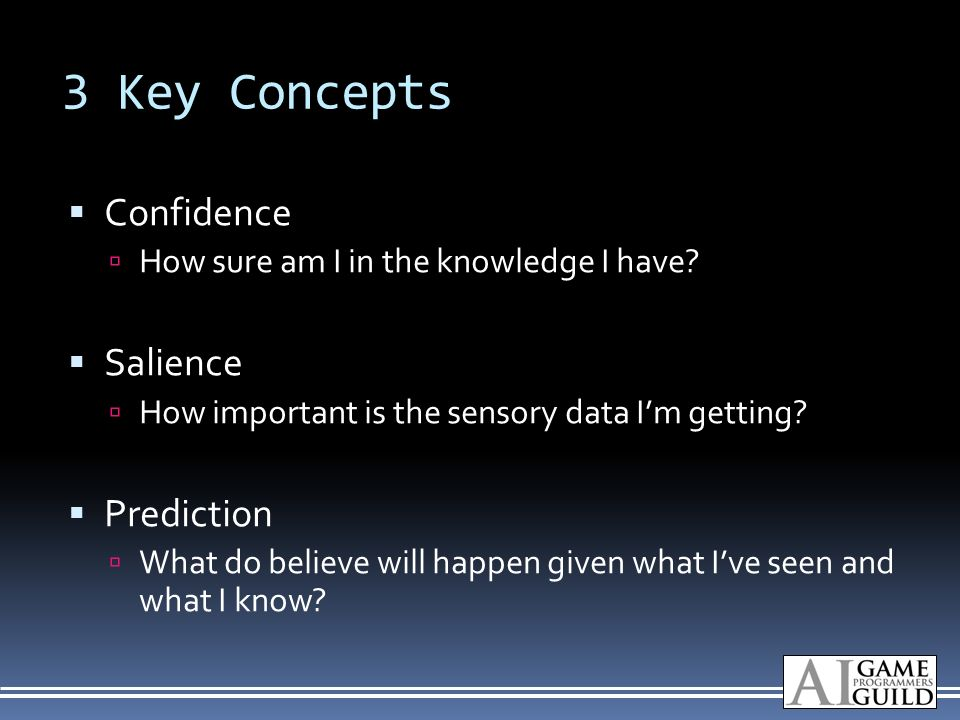 3 Key Concepts Confidence How sure am I in the knowledge I have.
