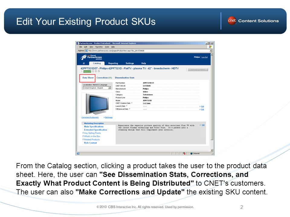 2 From the Catalog section, clicking a product takes the user to the product data sheet.