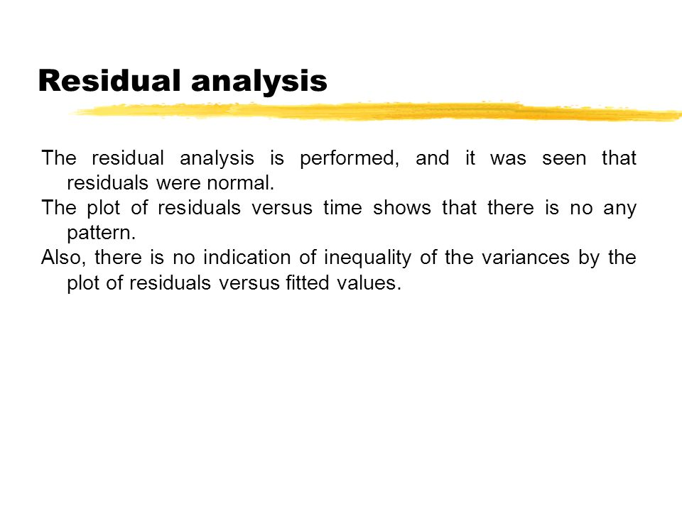 Residual analysis The residual analysis is performed, and it was seen that residuals were normal.