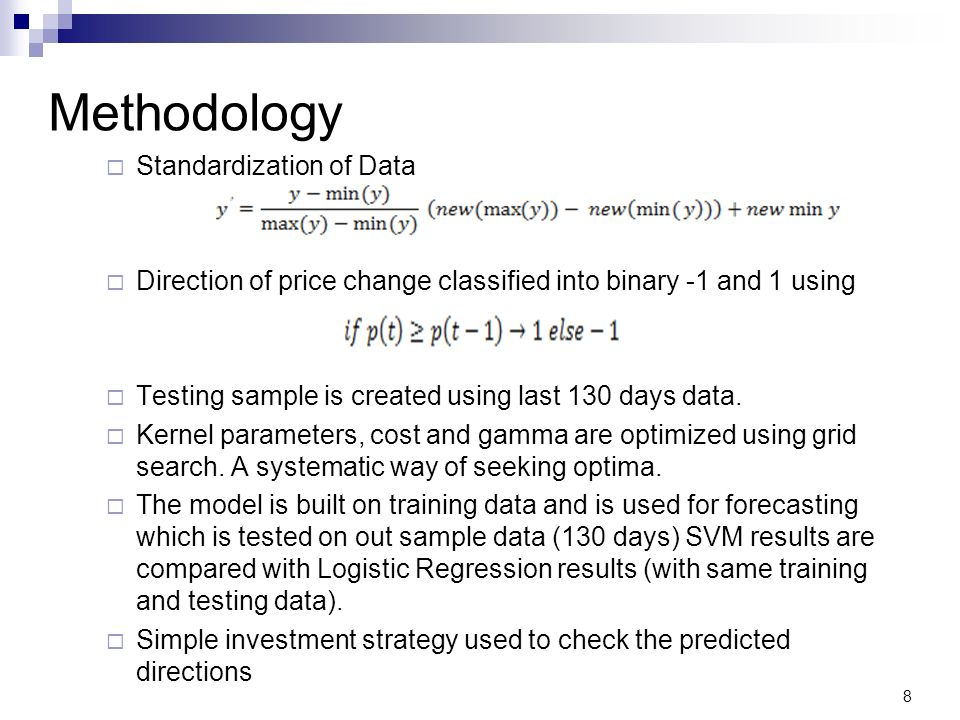 Methodology Standardization of Data Direction of price change classified into binary -1 and 1 using Testing sample is created using last 130 days data.
