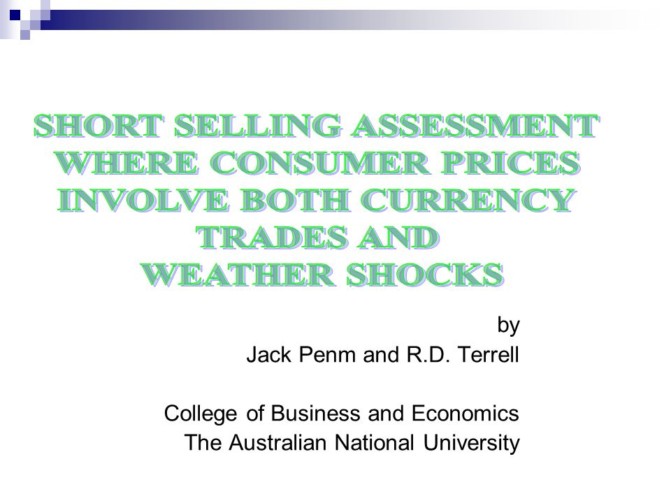 by Jack Penm and R.D. Terrell College of Business and Economics The Australian National University