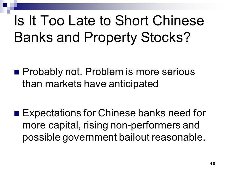 Is It Too Late to Short Chinese Banks and Property Stocks.