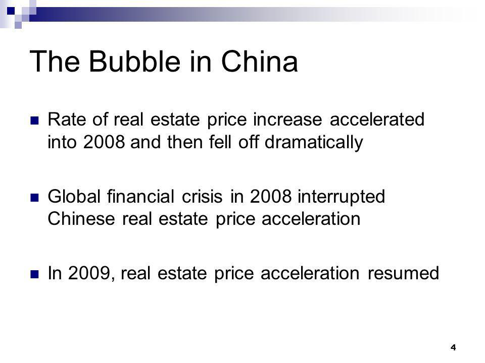 4 The Bubble in China Rate of real estate price increase accelerated into 2008 and then fell off dramatically Global financial crisis in 2008 interrupted Chinese real estate price acceleration In 2009, real estate price acceleration resumed