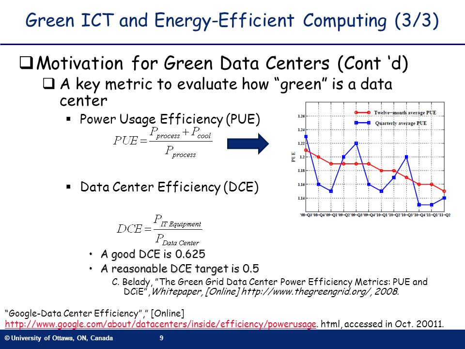© University of Ottawa, ON, Canada9 Green ICT and Energy-Efficient Computing (3/3) Motivation for Green Data Centers (Cont d) A key metric to evaluate how green is a data center Power Usage Efficiency (PUE) Data Center Efficiency (DCE) A good DCE is 0.625A good DCE is 0.625 A reasonable DCE target is 0.5A reasonable DCE target is 0.5 C.