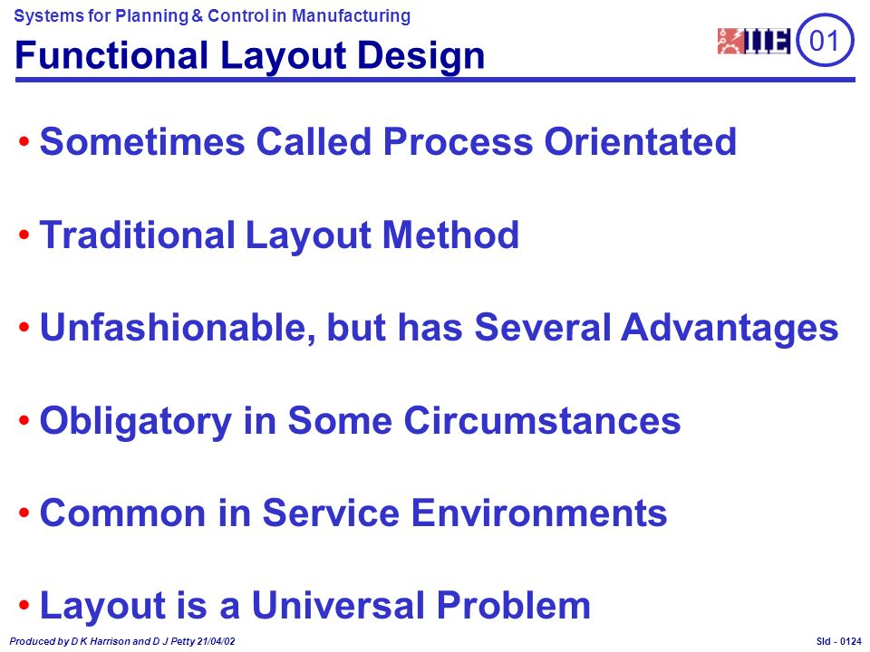 Systems for Planning & Control in Manufacturing Produced by D K Harrison and D J Petty 21/04/02 Sld - Functional Layout Design Sometimes Called Process Orientated Traditional Layout Method Unfashionable, but has Several Advantages Obligatory in Some Circumstances Common in Service Environments Layout is a Universal Problem 01 0124