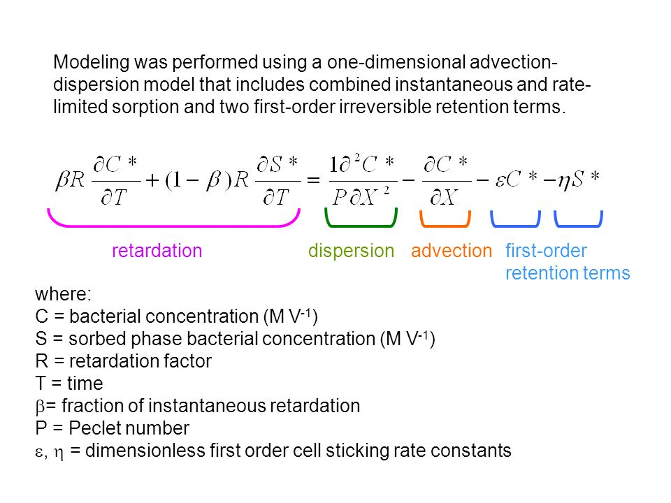 Modeling was performed using a one-dimensional advection- dispersion model that includes combined instantaneous and rate- limited sorption and two first-order irreversible retention terms.