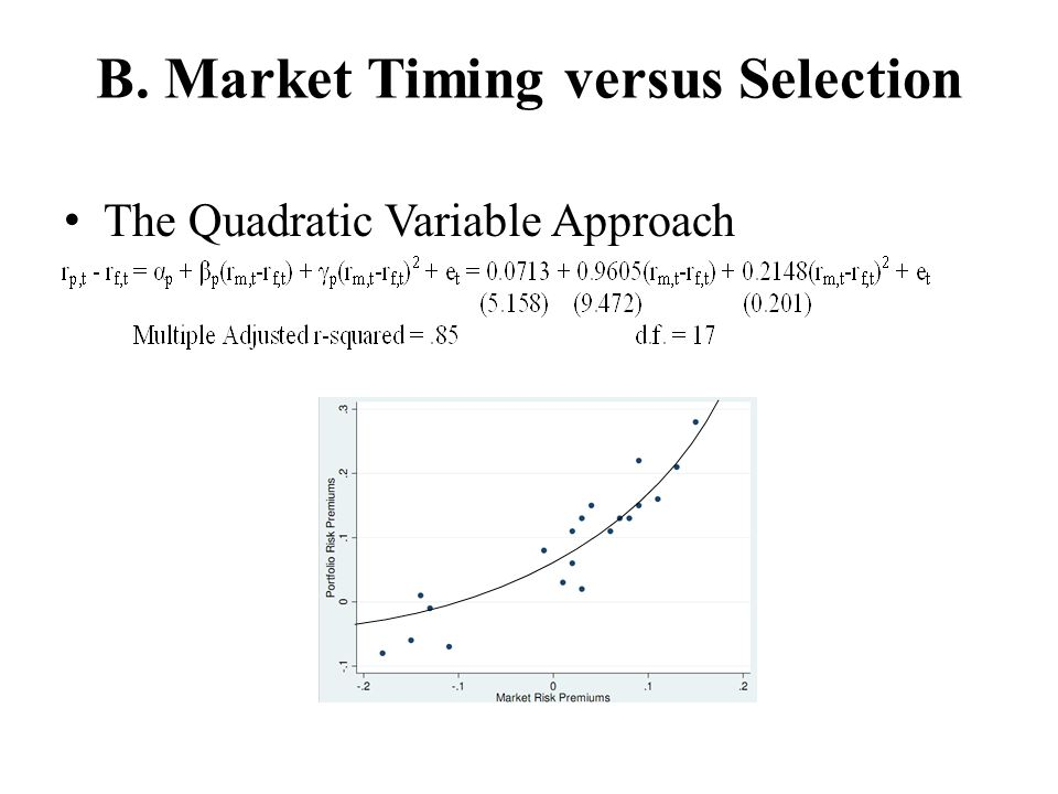 B. Market Timing versus Selection The Quadratic Variable Approach