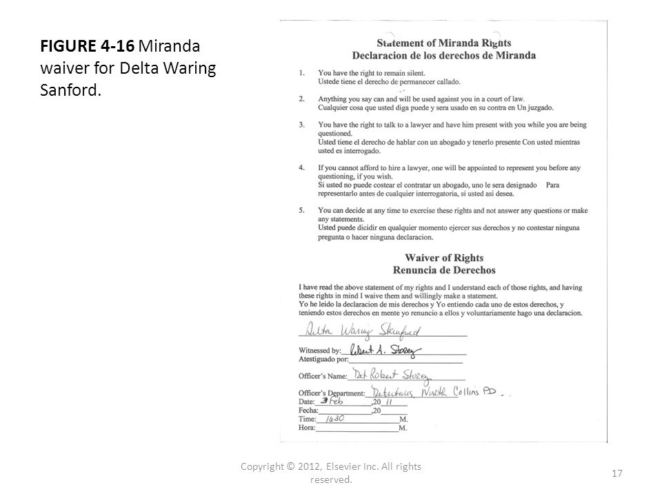 FIGURE 4-16 Miranda waiver for Delta Waring Sanford.