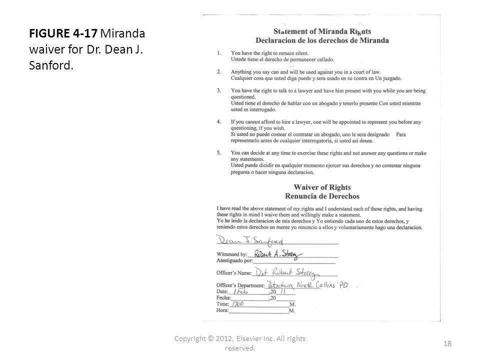 FIGURE 4-17 Miranda waiver for Dr. Dean J. Sanford.