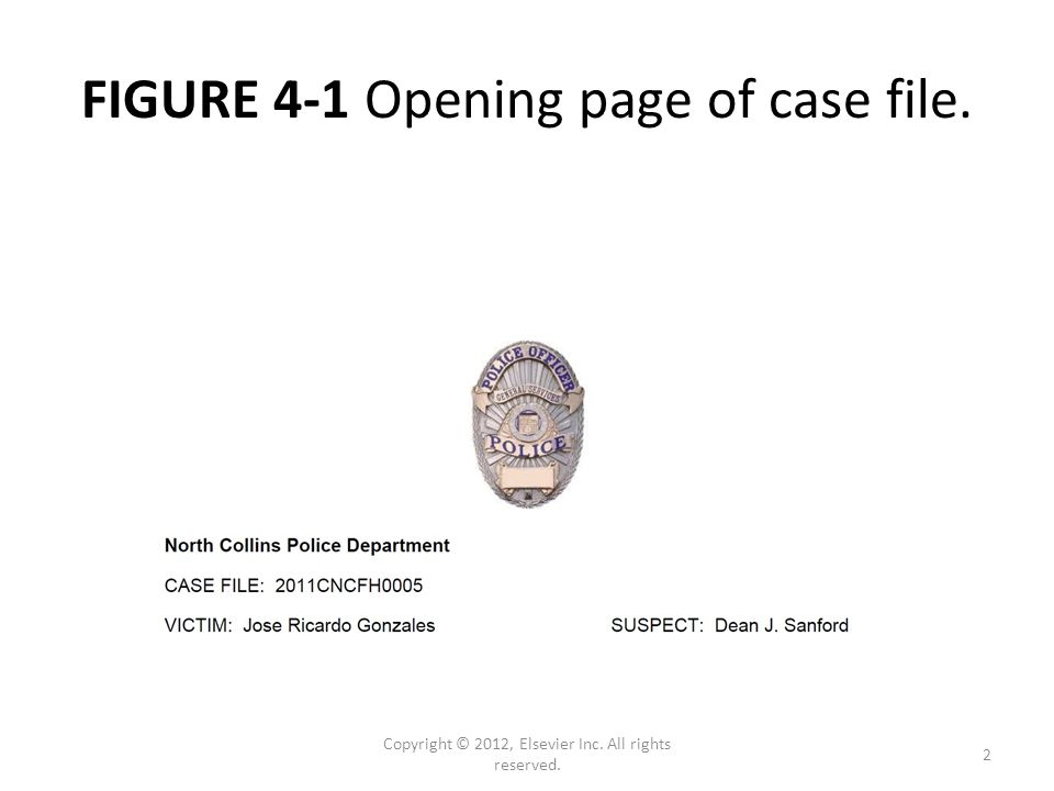FIGURE 4-1 Opening page of case file. Copyright © 2012, Elsevier Inc. All rights reserved. 2