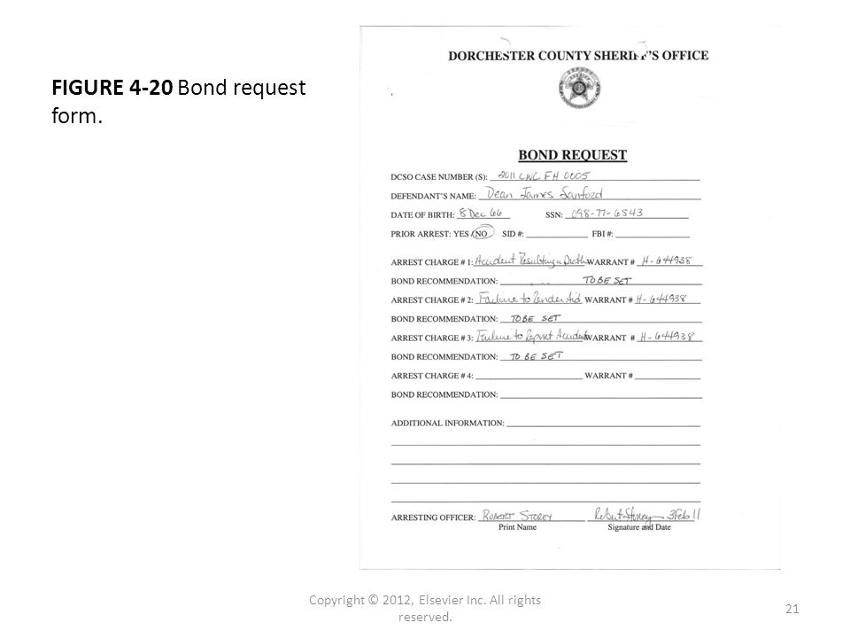 FIGURE 4-20 Bond request form. Copyright © 2012, Elsevier Inc. All rights reserved. 21