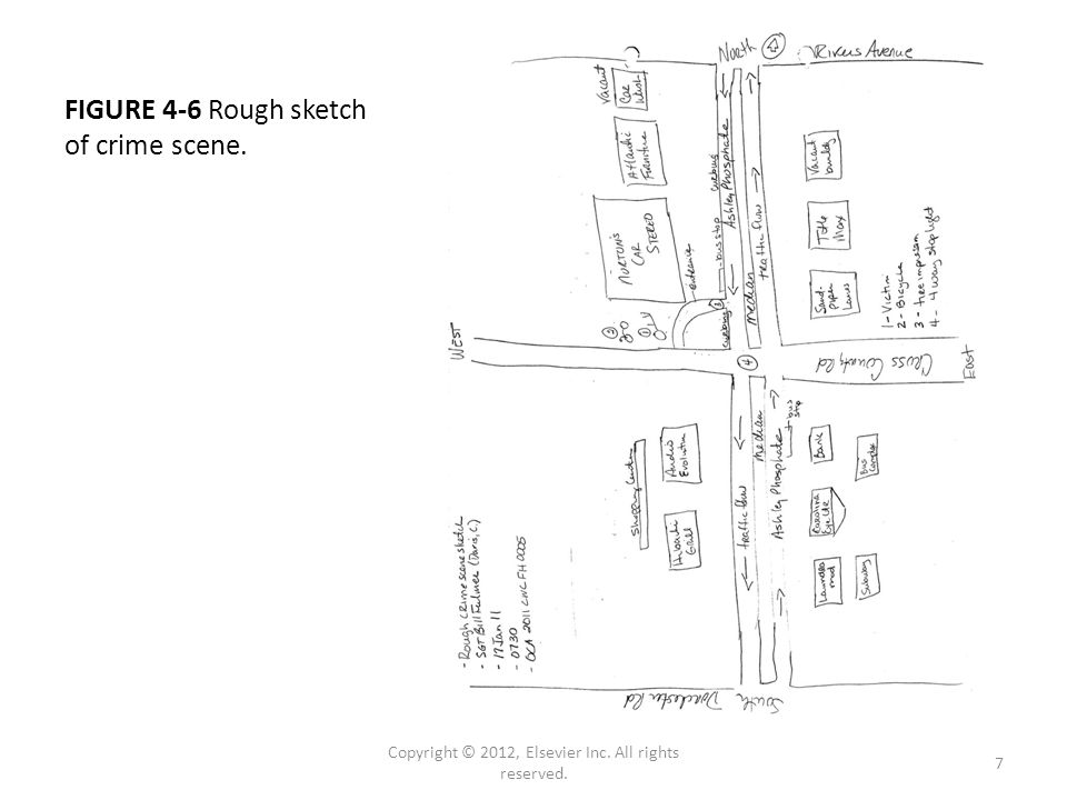 FIGURE 4-6 Rough sketch of crime scene. Copyright © 2012, Elsevier Inc. All rights reserved. 7