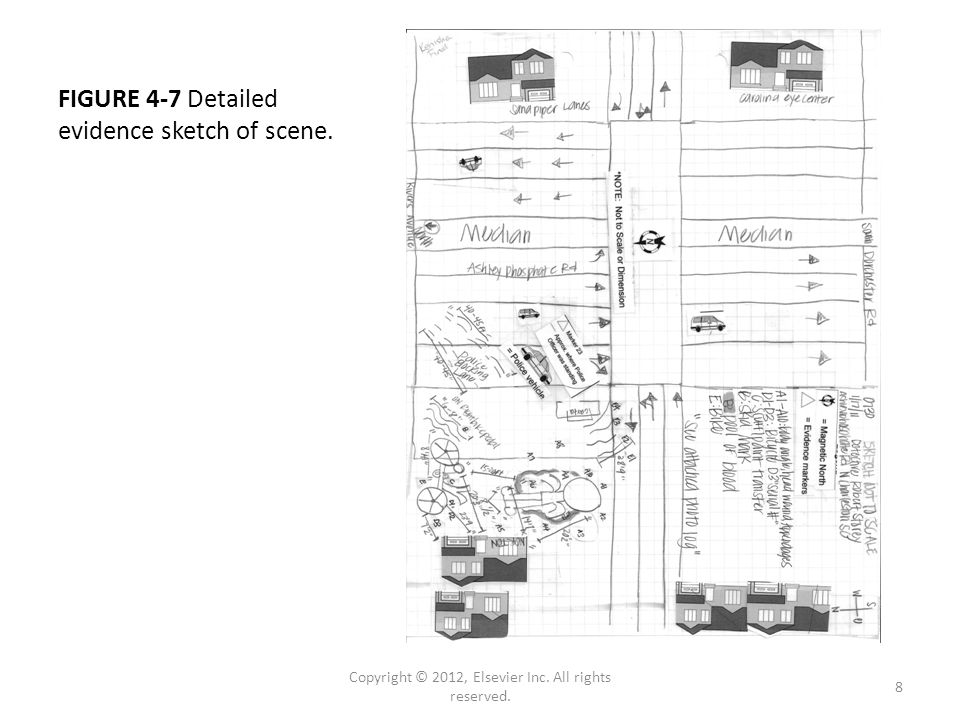FIGURE 4-7 Detailed evidence sketch of scene. Copyright © 2012, Elsevier Inc.