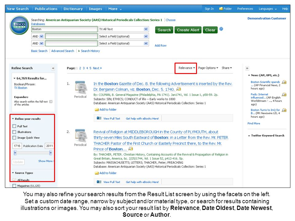 You may also refine your search results from the Result List screen by using the facets on the left.