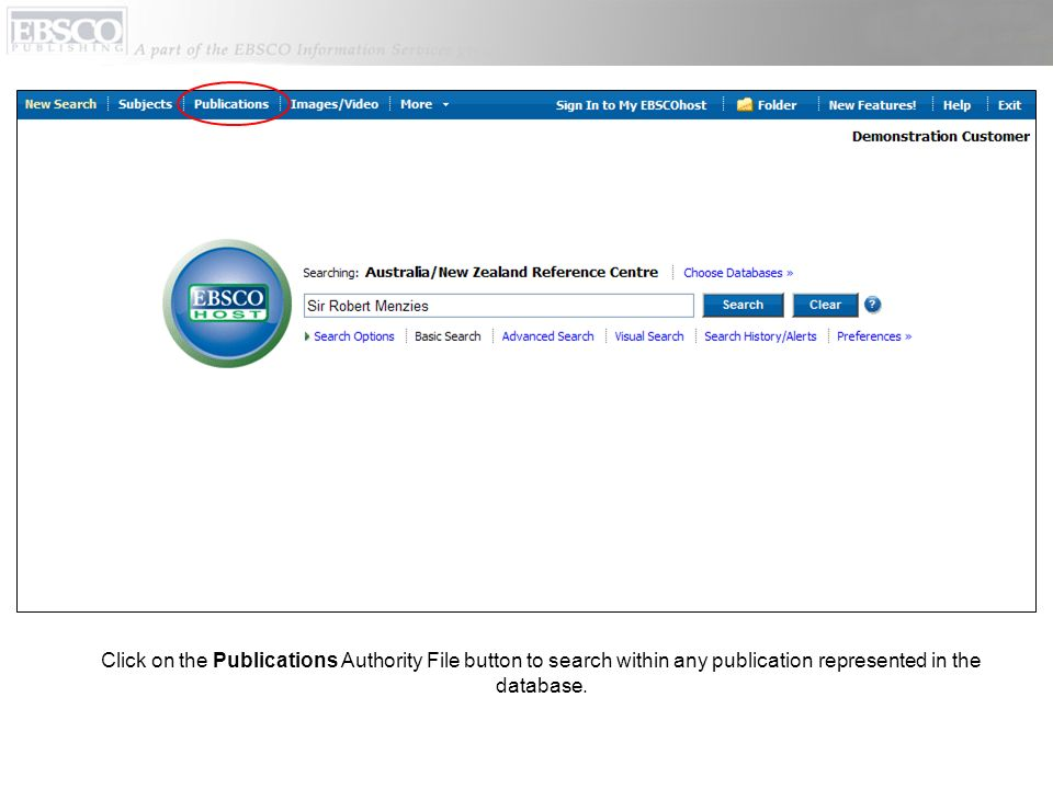 Click on the Publications Authority File button to search within any publication represented in the database.