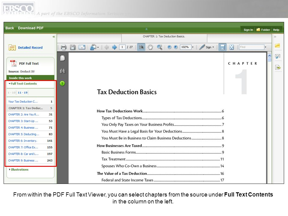 From within the PDF Full Text Viewer, you can select chapters from the source under Full Text Contents in the column on the left.