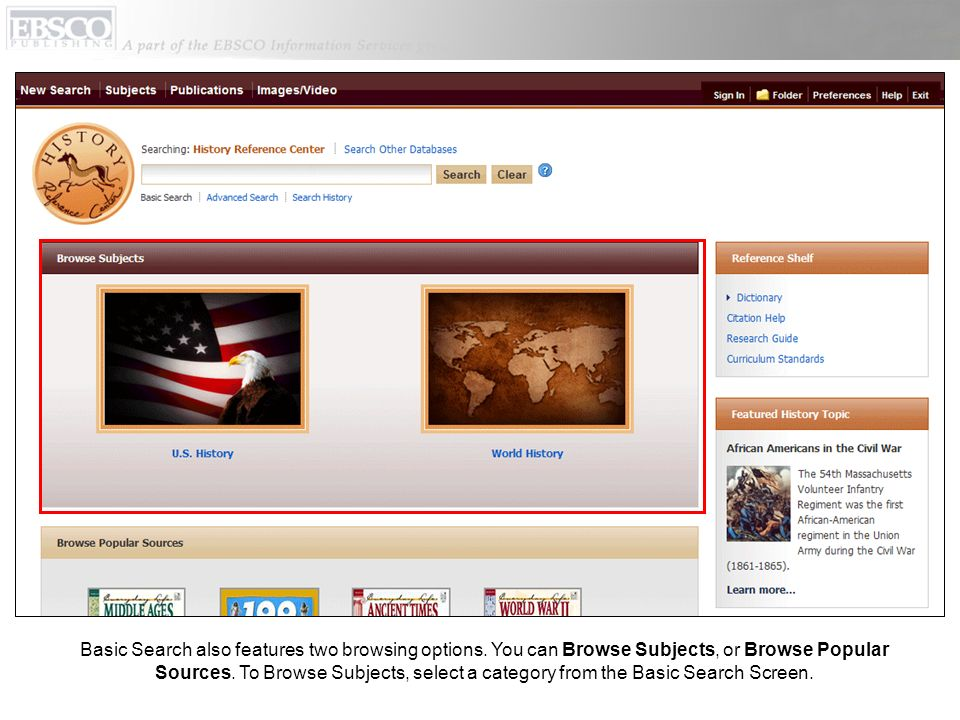 Basic Search also features two browsing options.