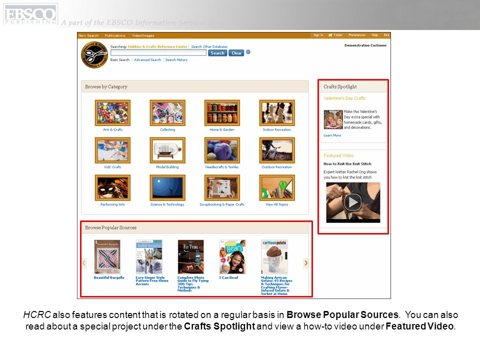 HCRC also features content that is rotated on a regular basis in Browse Popular Sources.