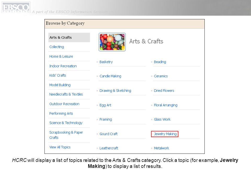 HCRC will display a list of topics related to the Arts & Crafts category.