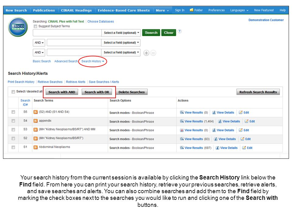 Your search history from the current session is available by clicking the Search History link below the Find field.