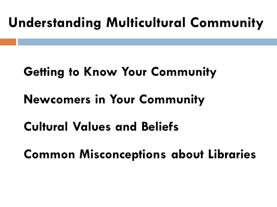 Understanding Multicultural Community Getting to Know Your Community Newcomers in Your Community Cultural Values and Beliefs Common Misconceptions about Libraries