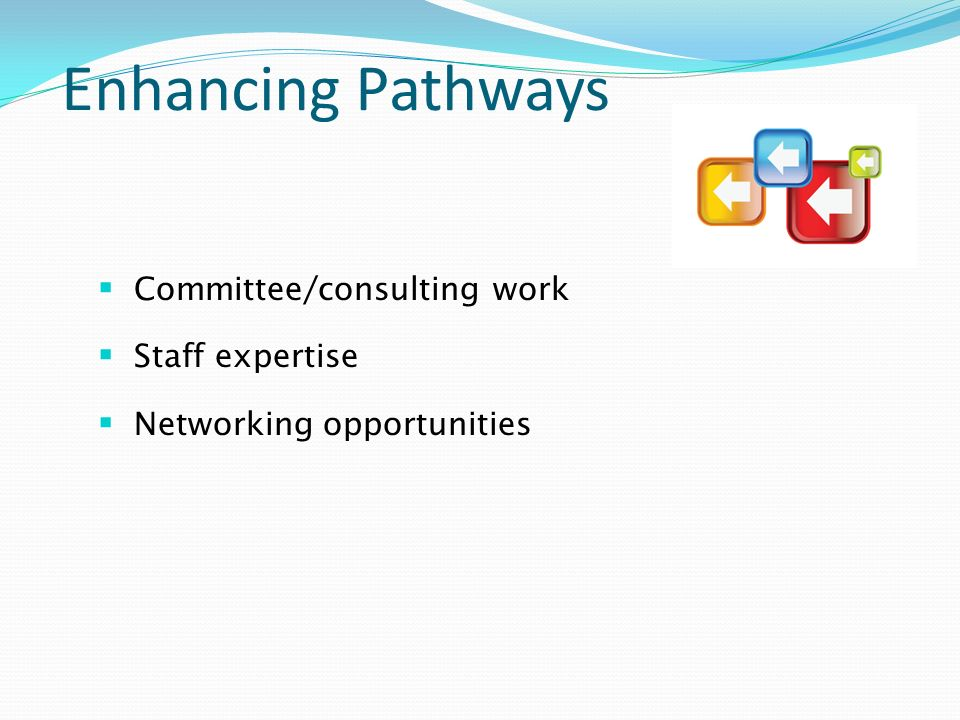 Enhancing Pathways Committee/consulting work Staff expertise Networking opportunities